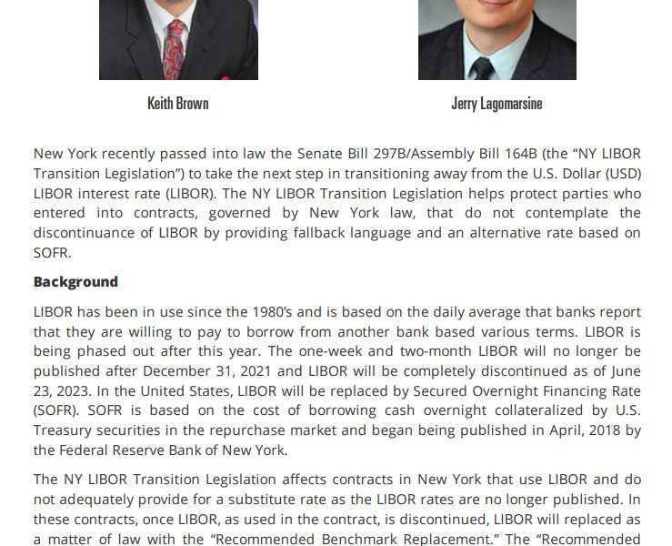NY takes next step to transition from LIBOR to SOFR